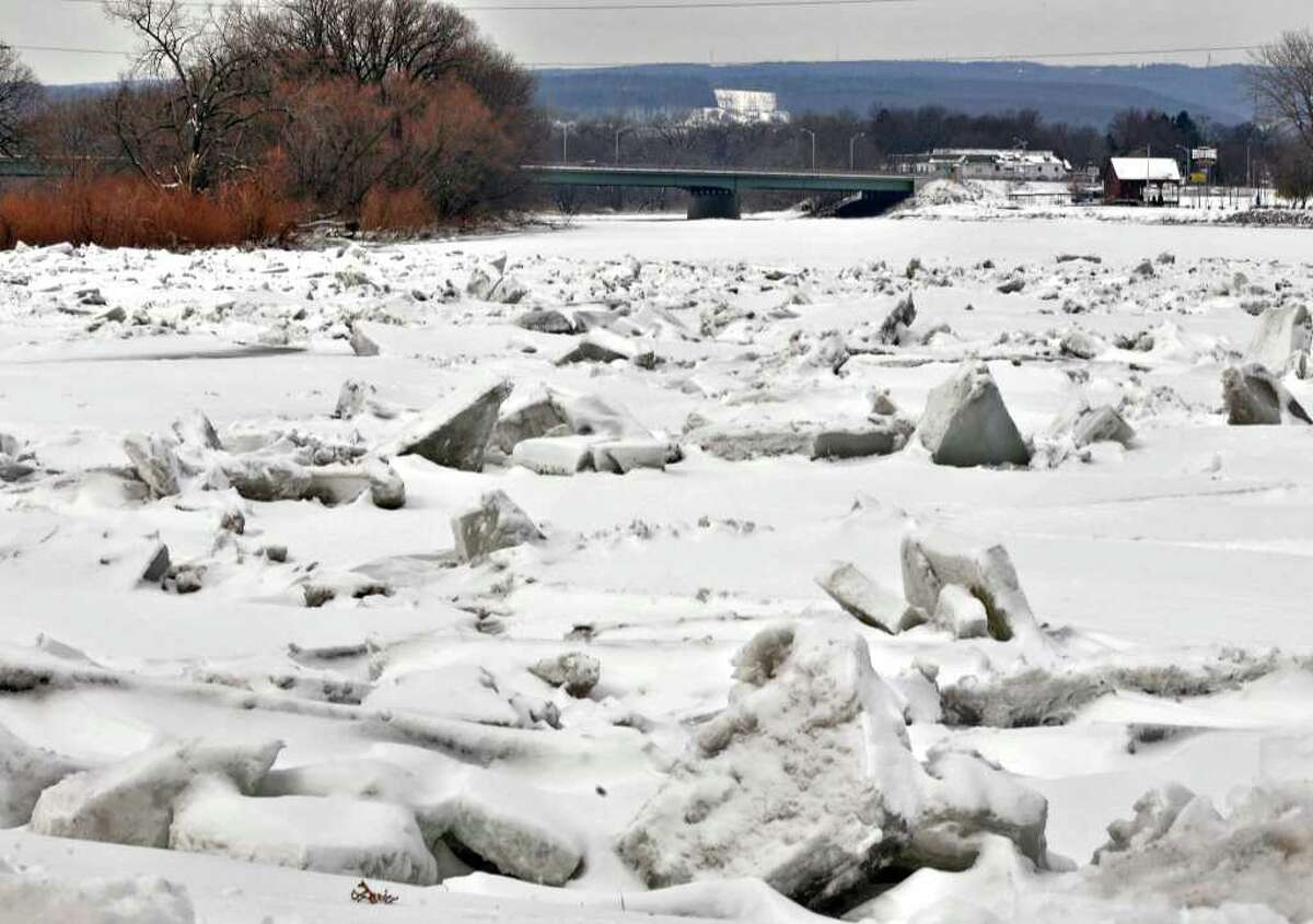 Ice is breaking up in the Mohawk River at Schenectady's Stockade district on Wednesday morning, March 9, 2011. (John Carl D'Annibale / Times Union)