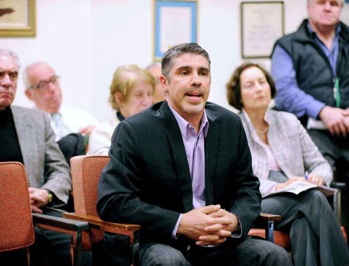 """Old Greenwich resident Gary Dell'Abate, the producer of """"The Howard Stern Radio Show,"""" during an interview before the Representative Town Meeting's Parks and Recreation Committee at Greenwich Town Hall, Tuesday night, March 8, 2011."""