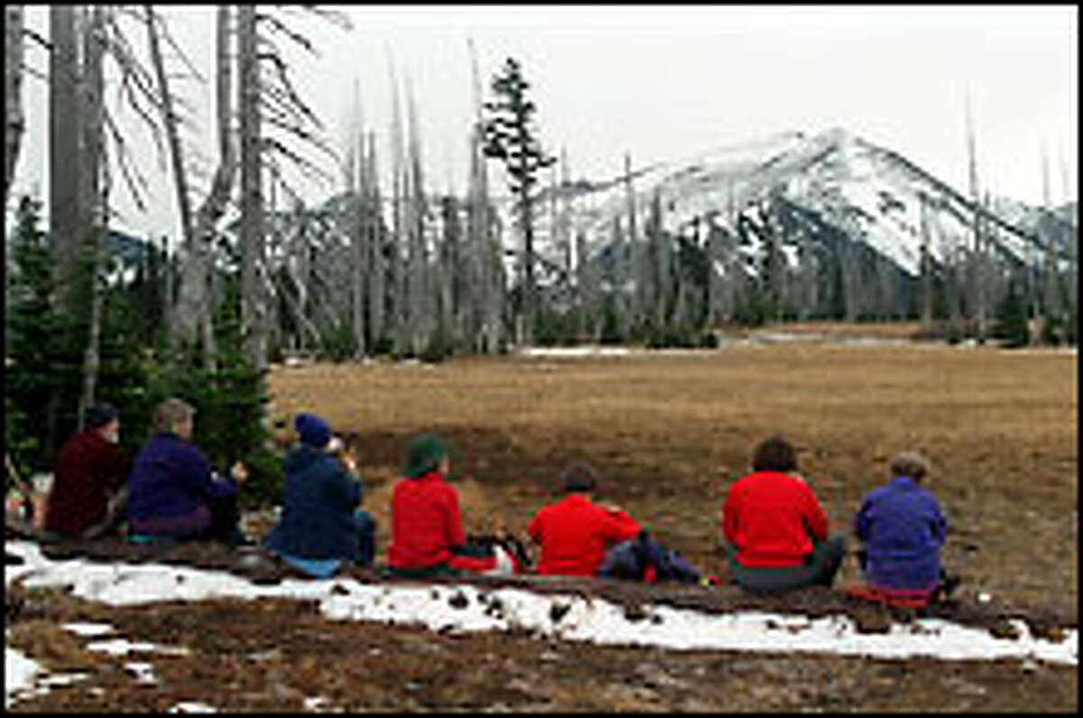 """Seating with a view: Hikers pause for lunch in Grand Park while soaking up the vista of snow-dusted Mount Fremont in Mount Rainier National Park. The """"unofficial"""" approach via Lake Eleanor from national forest land north of the park is shorter and easier than the official route from Sunrise."""
