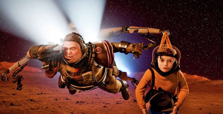 "Gribble (left) and Milo search for Milo's mom in ""Mars Needs Moms."" WALT DISNEY PICTURES"