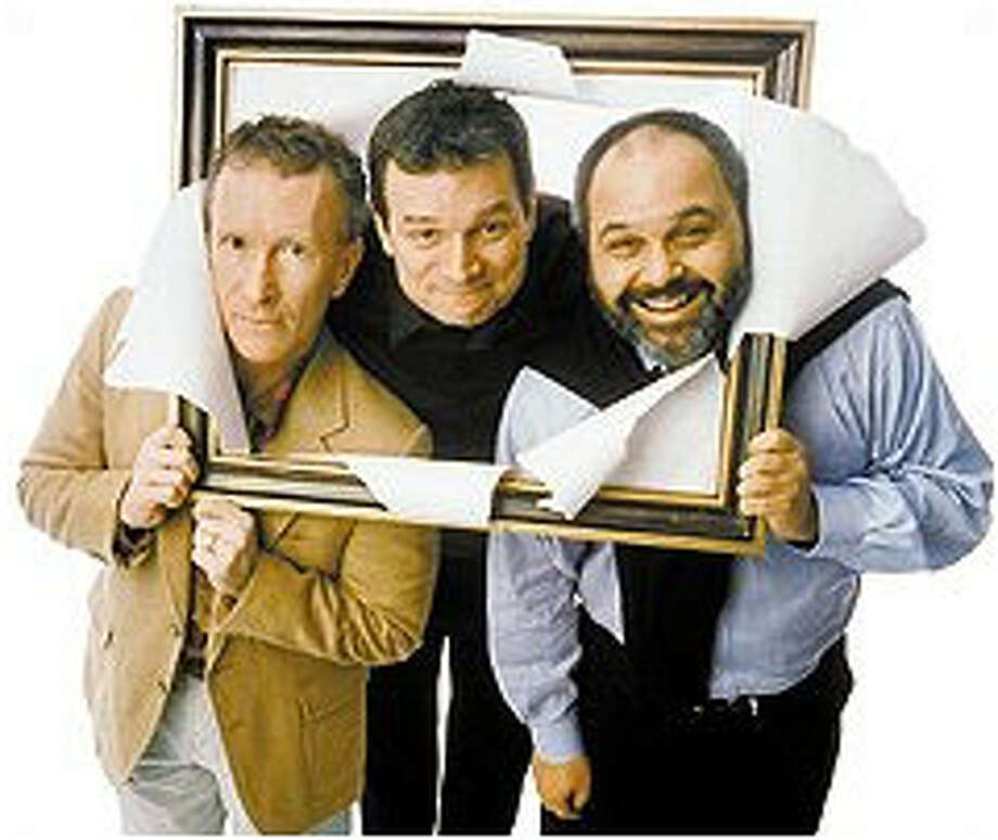 """Yvan (R. Hamilton Wright, left), Marc (John Procaccino) and Serge (Laurence Ballard, right) are friends, insults or not in Reza's """"Art.""""."""