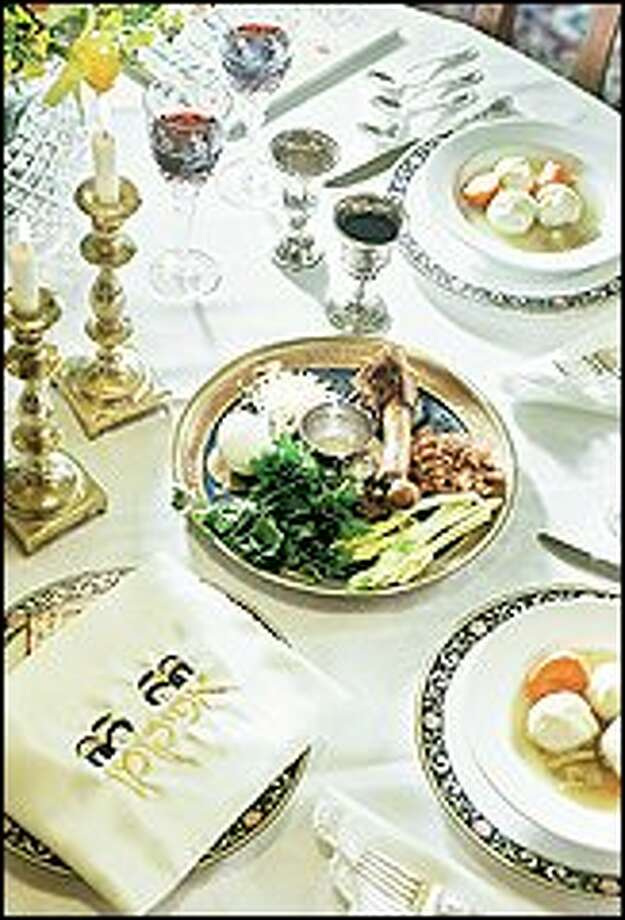 At the center of the Seder table: A roasted bone represents the paschal lamb sacrificed and eaten on the eve of departure from Egypt; a roasted egg is for life; maror symbolizes the bitterness of bondage; karpas implies the first green of spring; saltwater recalls the tears of suffering; haroseth represents the brick and mortar Jews used to build their oppressor's palaces. PAUL JOSEPH BROWN/P-I