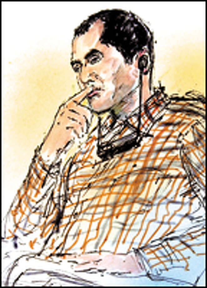 Algerian Ahmed Ressam at his trial in Los Angeles, as shown in an artist's sketch. Photo: AP