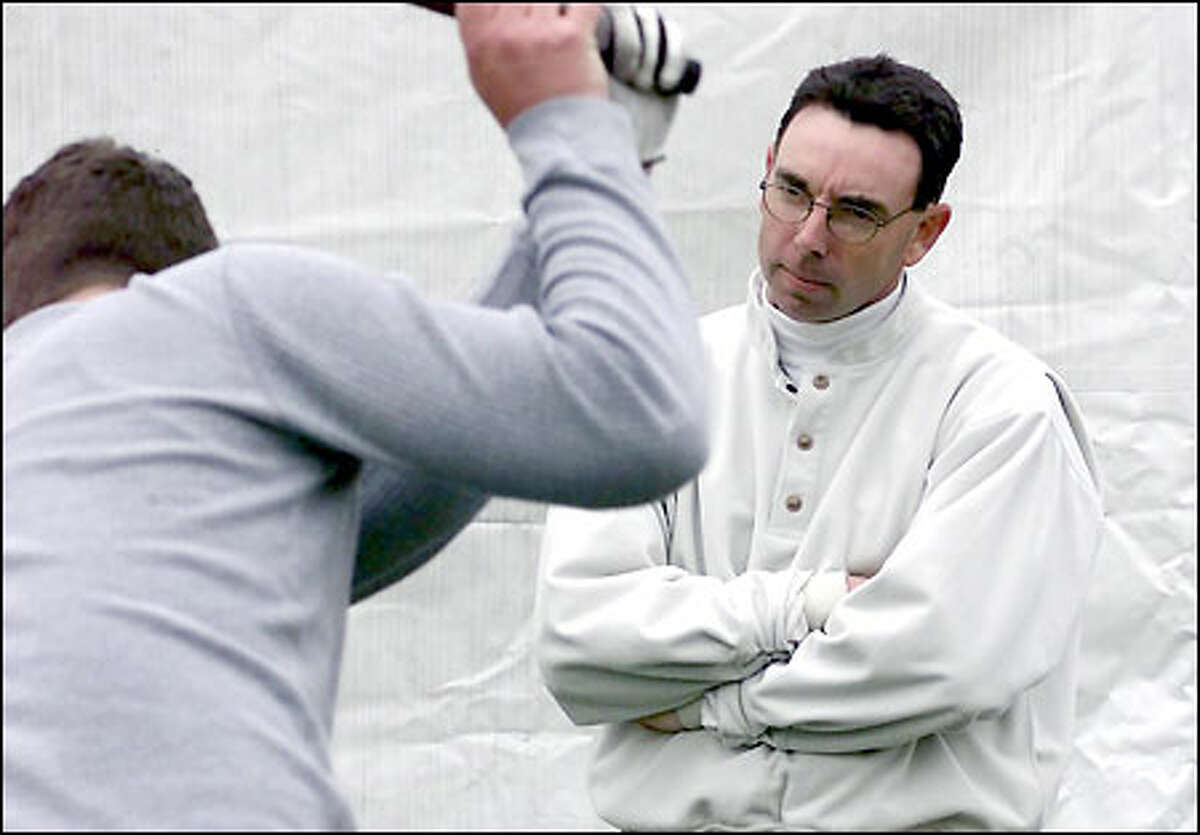 PGA pro Tom Sovay, voted Western Washington's PGA Teacher of the Year for the past four years, instructs Pete Cowie at the Harbour Pointe Golf Club in Mukilteo.