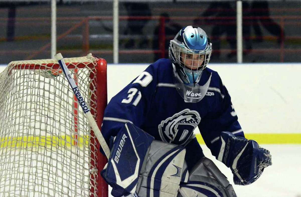 Darien's goalie Max Rothston (31) defends the goal during the Division I First Round boys ice hockey state tournament against Fairfield Prep at the Wonderland of Ice in Bridgeport on Wednesday, Mar. 9, 2011.