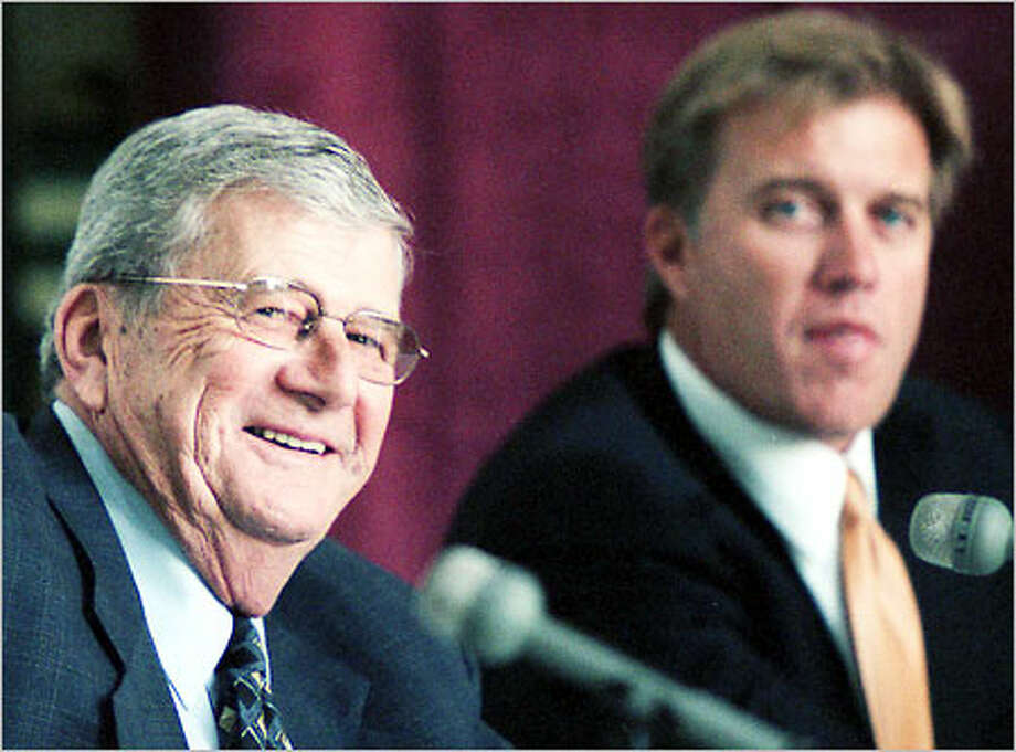Hoquiam native Jack Elway, left, made his mark as an innovative college coach well before his son John, right, gained notoriety as an NFL superstar. Photo: / Associated Press