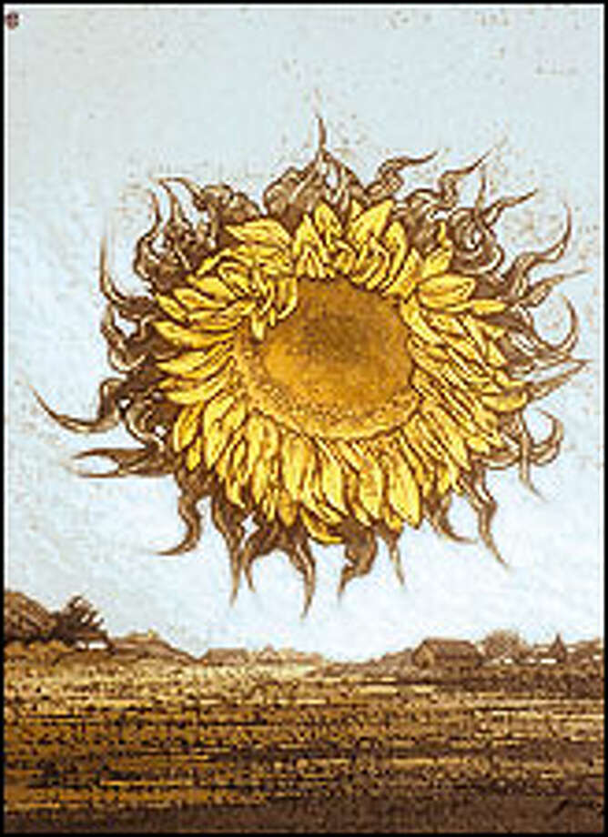 """The impetus behind the LaConner museum was a group of boosters who thought a small group of artists weren't getting their due in Seattle. Among those is Richard Gilkey, whose """"Sunflower Landscape,"""" 1979, is shown here."""