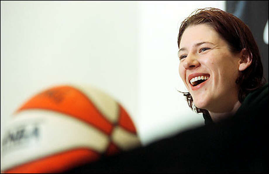 """Lauren Jackson, 19, laughs at yesterday's news conference. """"Seattle is probably the best place in America for me,"""" said Jackson, an Australian star selected No. 1 overall in Friday's WNBA draft. Photo: Dan DeLong/Seattle Post-Intelligencer"""