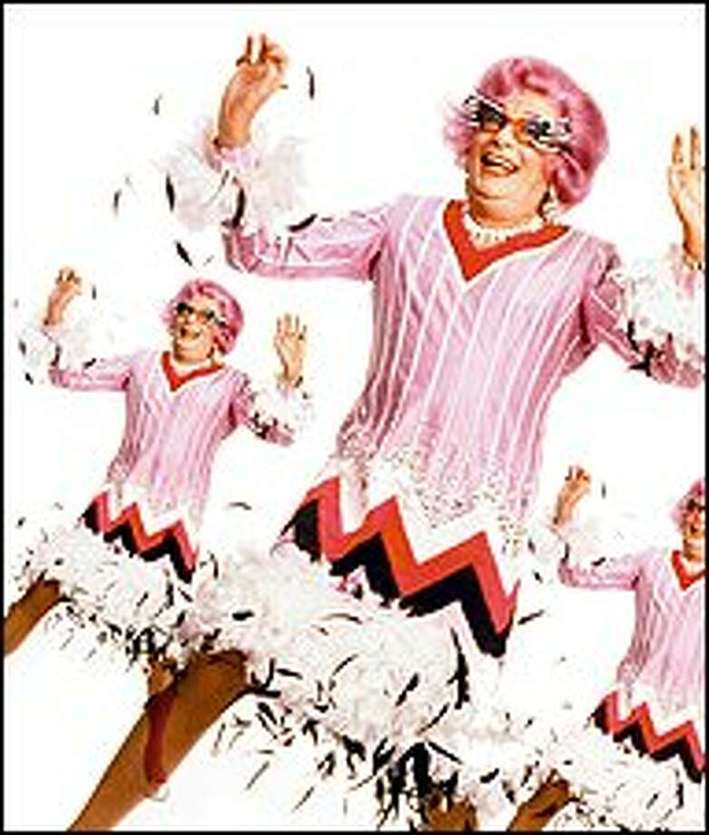 Dame Edna models her '60s dress from her extensive frock collection. Barry Humphries plays the talkative character that he created 45 years ago.