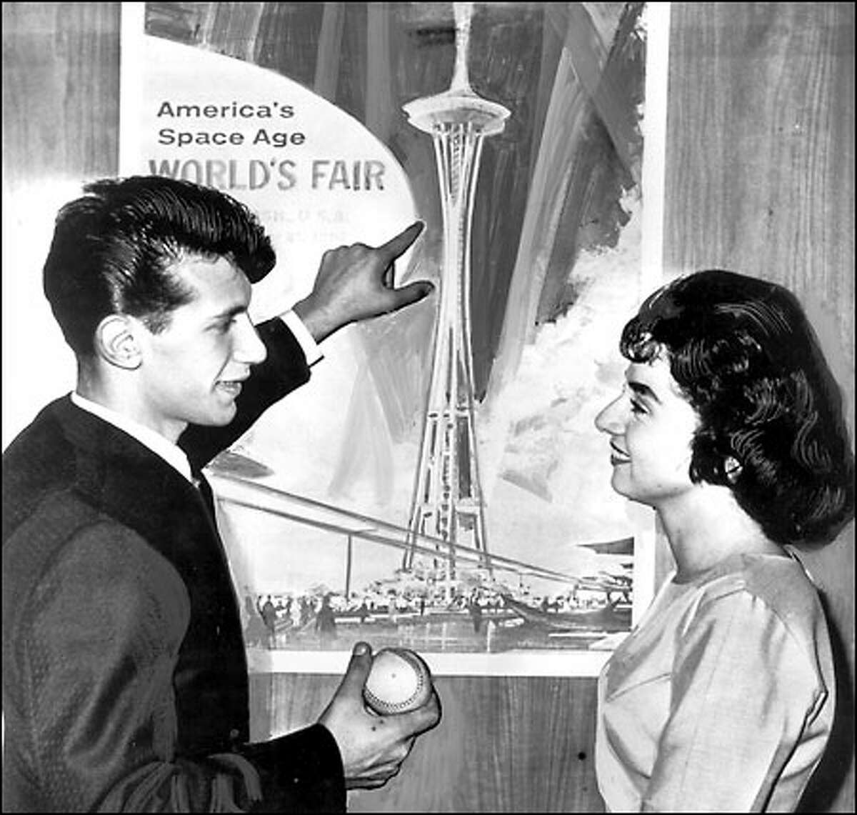 Sal Durante explains to his girlfriend the plan for the 1962 World's Fair: Roger Maris' 61st home run ball was to be dropped from the Space Needle; if Durante caught it, he would earn $1,000.
