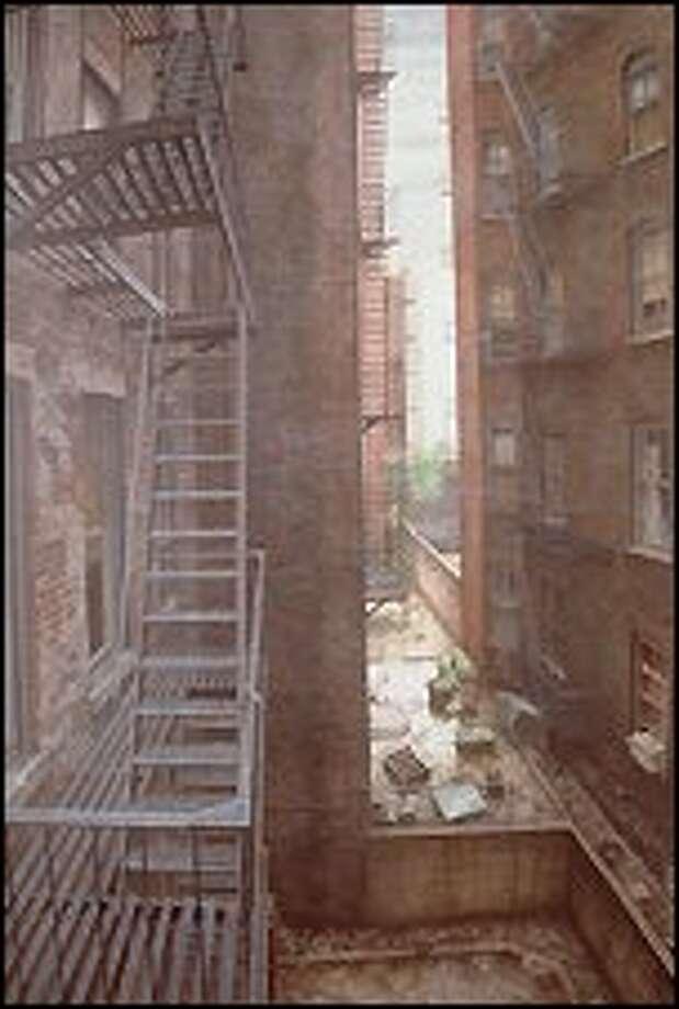 "Emptiness floods Doug Safranek's ""The White Building,"" an egg tempera on panel from 1989."