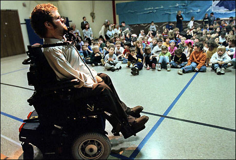 Todd Stabelfelt, 22, waits at Ordway Elementary School on Bainbridge Island to tell how he was paralyzed when he was 8 years old. His cousin was playing with a rifle he didn't know was loaded. Stabelfelt will speak at today's gun safety rally at Seattle Center. Photo: Renee C. Byer/Seattle Post-Intelligencer
