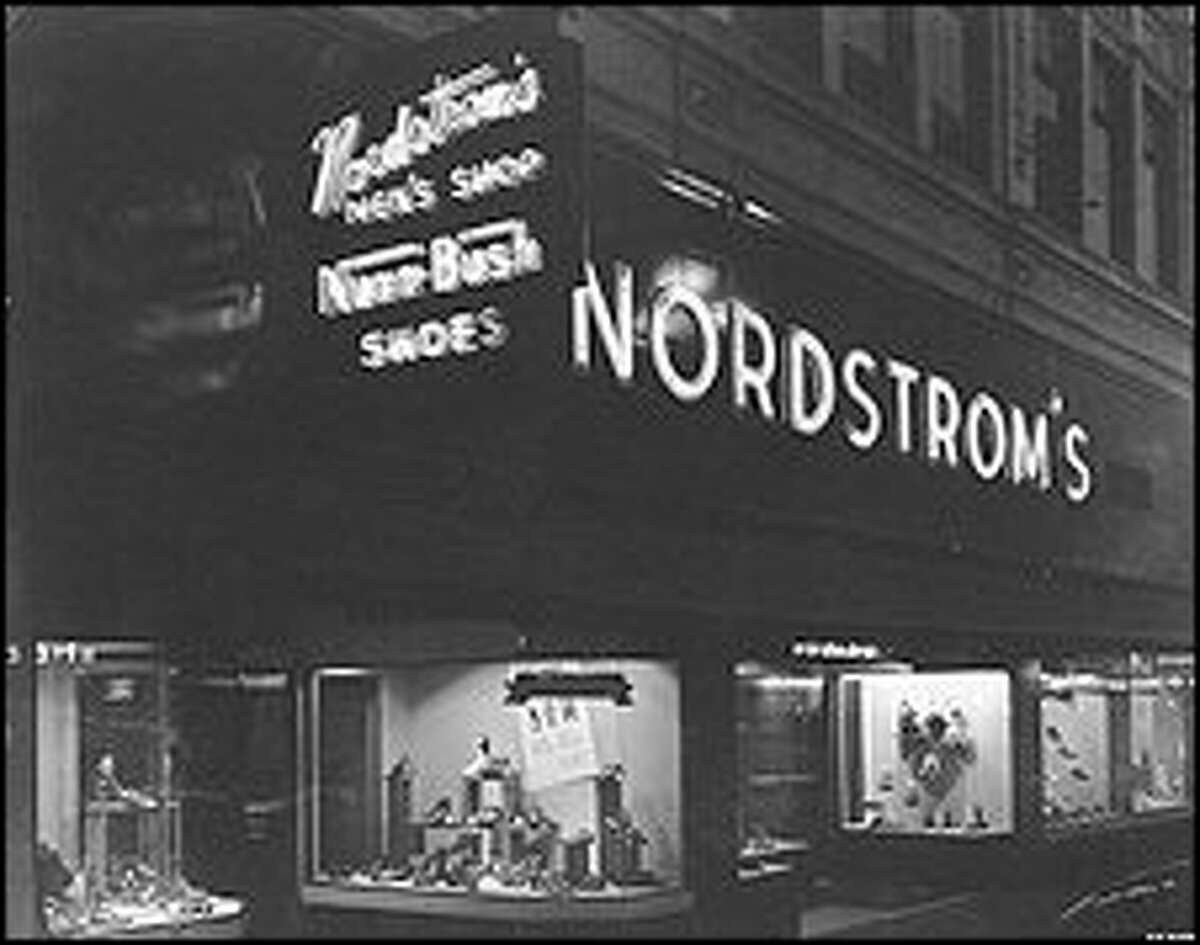 The Nordstrom store at Fifth Avenue and Pike Street, in 1950. The company at this time was in the hands of the second generation of Nordstroms.