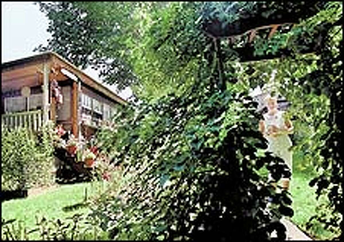 Sunni Rudd peaks through her hydrangea trellis in her back yard where she erected a garden shed, at left.