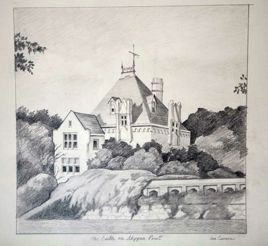 'The Castle on Shippan Point,' by Stamford artist Lisa Cuscuna, is one of many drawings that will be on display at the Loft Artists Association's gallery at 845 Canal St., March 11 to April 24. The show focuses on Stamford scenes. Photo: Contributed Photo, ST / Stamford Advocate Contributed