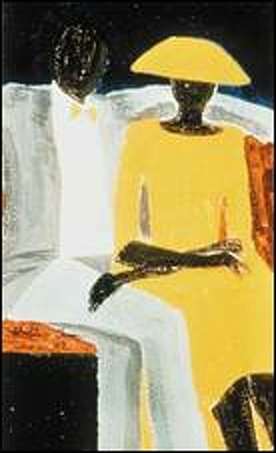 """A faceless couple exudes regal dignity in Jonathan Green's """"Easter"""" (1989). Though the woman's dark arm appears awkwardly extended in Mannerist style, balance remains perfect. Click for a larger image"""