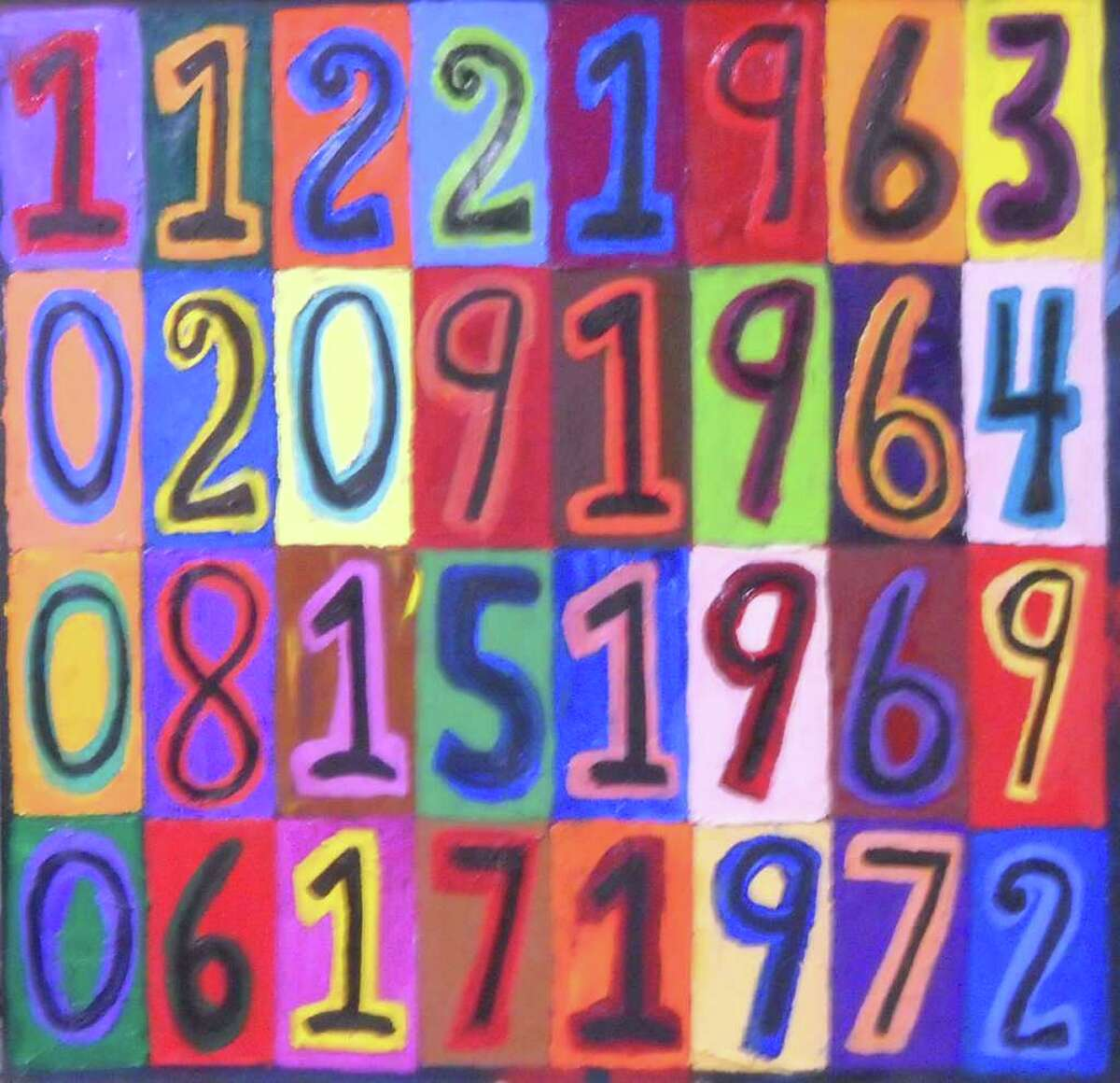 """Darien's Brenda Jackson's painting """"Living Numbers"""" will be featured at Wilton Library. The dates, from top to bottom are JFK's assassination, the Beatles performance on the Ed Sullivan show, Woodstock and the Watergate Scandal."""