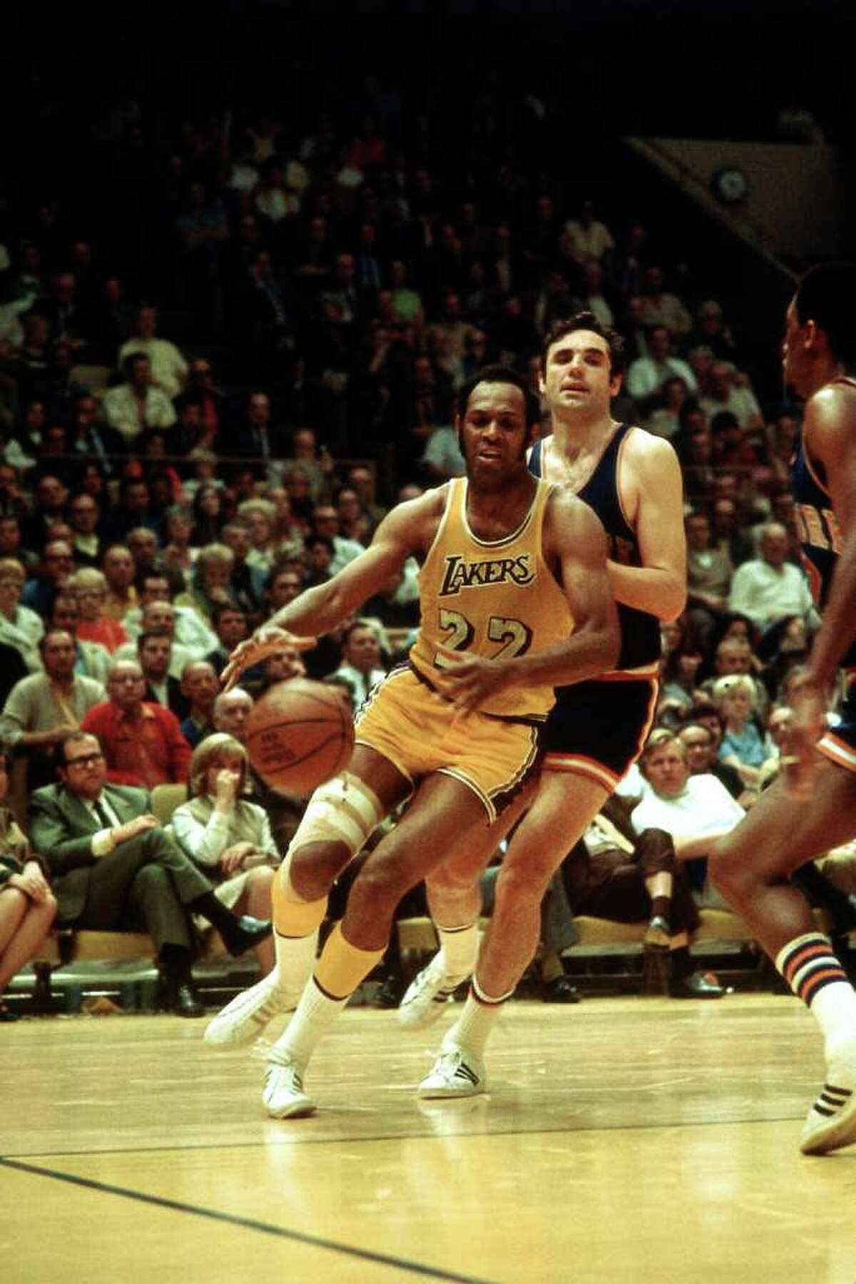 Elgin Baylor , who played for the Minnesota and Los Angeles Lakers, averaged a double-double in 11 seasons, from 1958-65 and 1966-70. His career average was 27.4 points and 13.5 rebounds. His best seasons were 1960-61, when he averaged 34.8 points and 19.8 rebounds, and 1961-62, when he averaged 38.3 and 18.6.