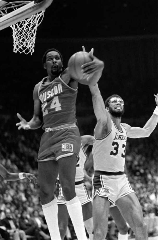 Moses Malone, who played for nine teams in the ABA and NBA from 1974-95, averaged a double-double in 16 seasons and had career averages of 20.3 points and 12.3 rebounds. His best averages came in 1981-82 with 31.1 points and 14.7 rebounds and 1978-79 with 24.8 points and 17.6 rebounds. Malone's teams included the Utah Stars, Spirits of St. Louis, Buffalo Braves, Houston Rockets, Philadelphia 76ers (twice), Washington Bullets, Atlanta Hawks, Milwaukee Bucks and San Antonio Spurs. Photo: File Photos / AP