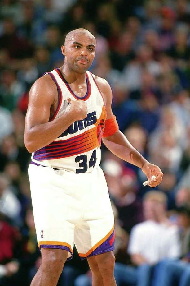 Charles Barkley averaged double-double 15 seasons, from 1985-2000 (all but his rookie year). His career averages were 22.1 points and 11.7 rebounds. His best shooting season was 1987-88 with 28.3 points and 11.9 rebounds. His best rebounding season was 1986-87 with 14.6 rebounds and 23.0 points. He played for the Philadelphia 76ers, the Phoenix Suns and the Houston Rockets.  (Photo by Andy Hayt/NBAE via Getty Images)