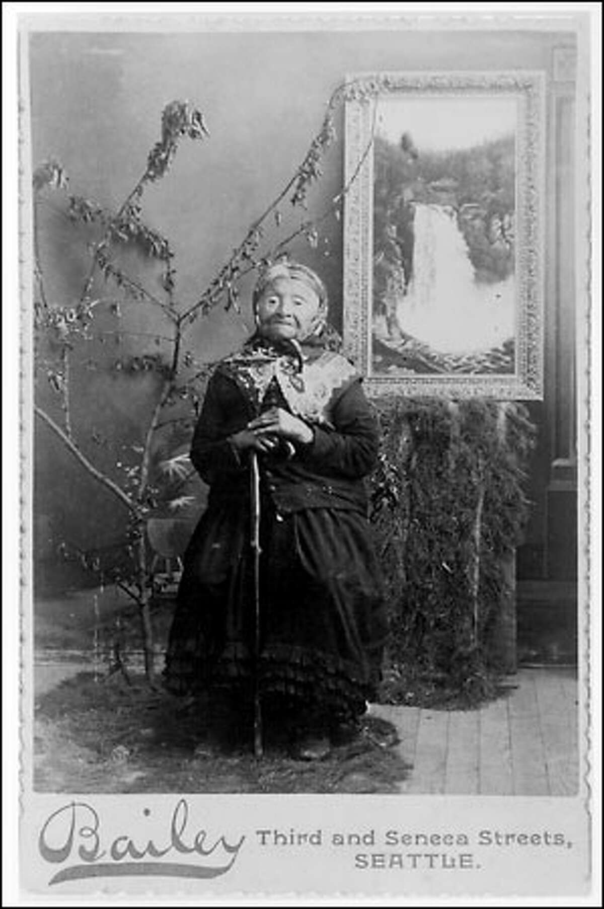 Princess Angeline, Chief Seattle's daughter, was a favorite subject of photographers. This image was made about 1890 when she was nearly 70.