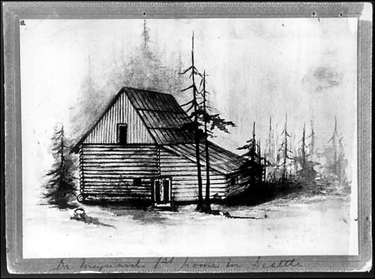 This sketch is of Maynard's 1852 log home in the forest at what is now First Avenue South and Main Street in the Pioneer Square area.