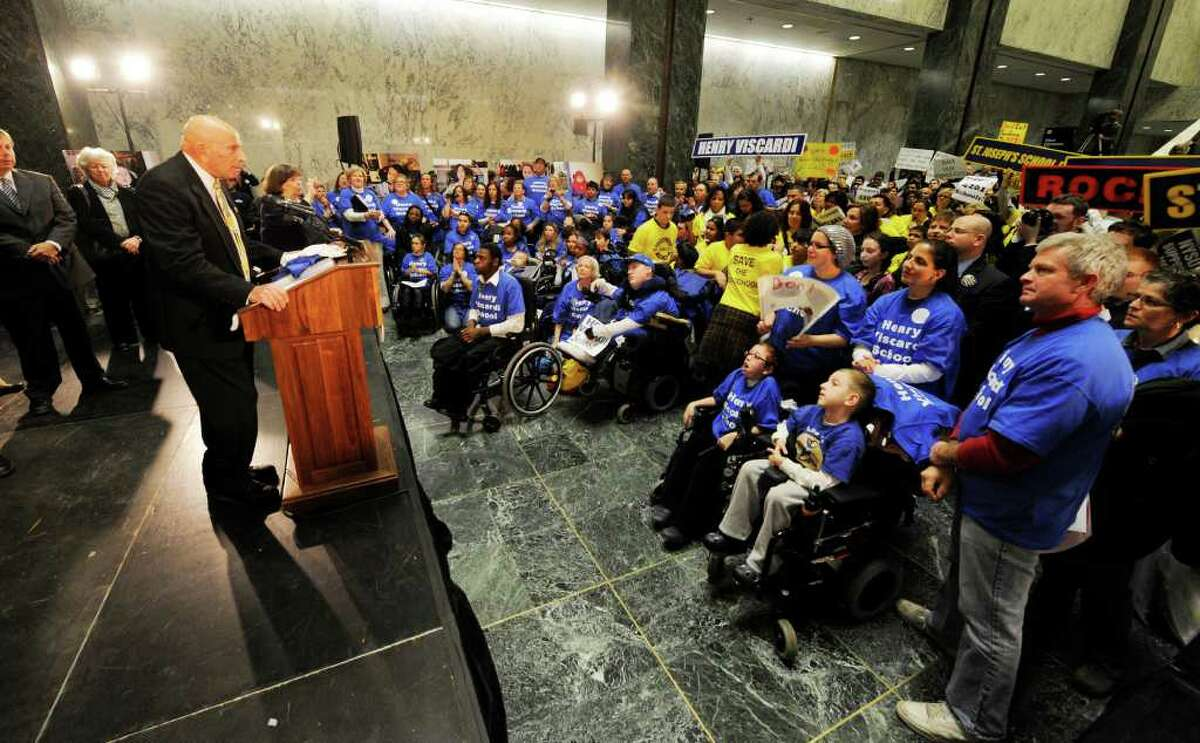 Assemblyman Harvey Weisenberg of the 20th AD speaks to approximately 600 students with disabilities, parents and advocates in the well of the Legislative Office Building in Albany, New York during a rally protesting funding cuts to the states special needs programs March 10, 2011. (Skip Dickstein / Times Union)