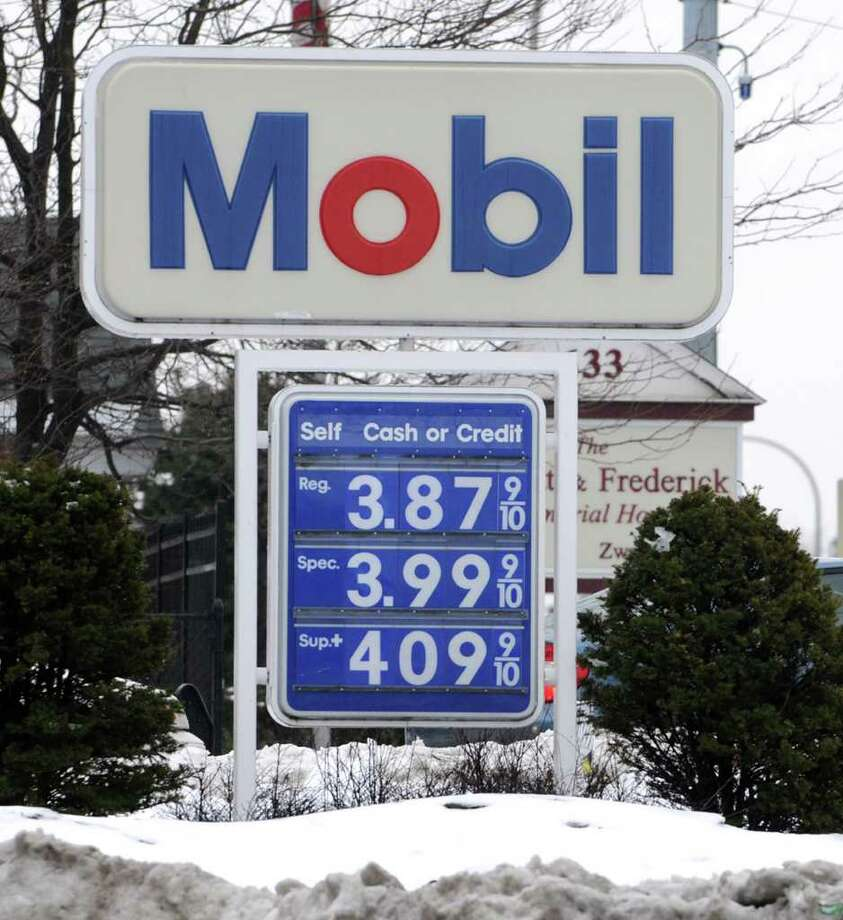 A sign shows the price of $3.87 for regular unleaded gas at a gas station on Central Ave. in Albany, NY on Thursday, March 10, 2011. (Lori Van Buren / Times Union) Photo: Lori Van Buren