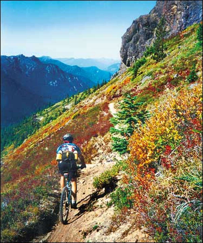 Mountain biker Mark Poffenbarger of Seattle traverses Jumbo Peak in the Juniper Ridge area near Mount. St. Helens. Amy Poffenbarger: