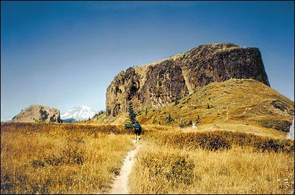 Jumbo Peak, with Mount Rainier peeking around its left shoulder, looms like a fortress along the Juniper Ridge Trail near Mount St. Helens. Amy Poffenbarger: