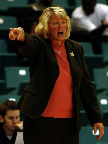 UTSA women's head basketball coach Rae Rippetoe encourages her team as they take on McNeese State during their semi-final matchup of the Southland Conference Basketball Tournament at the Merrell Center Thursday, March 10, 2011, in Katy. UTSA fell to McNeese State 66-50. Photo: Cody Duty, Houston Chronicle / Houston Chronicle