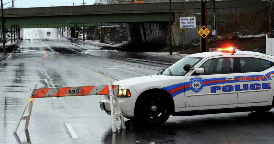 Central Avenue in Albany, New York has been blocked from Vetrano Road to Osborne Road in Colonie due to flooding under the I-90 overpass as a result of heavy rains overnight in to this morning March 11, 2011.   (Skip Dickstein / Times Union) Photo: SKIP DICKSTEIN / 2008