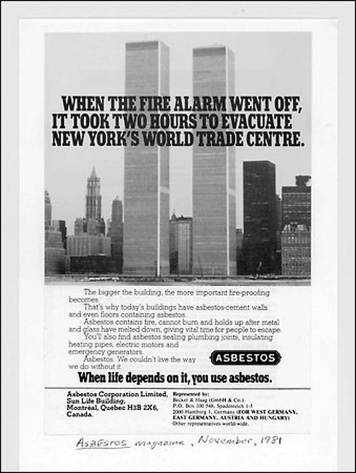 This 1981 advertisement in Asbestos Magazine, an industry publication, lauded the use of asbestos in the construction of the World Trade Center.
