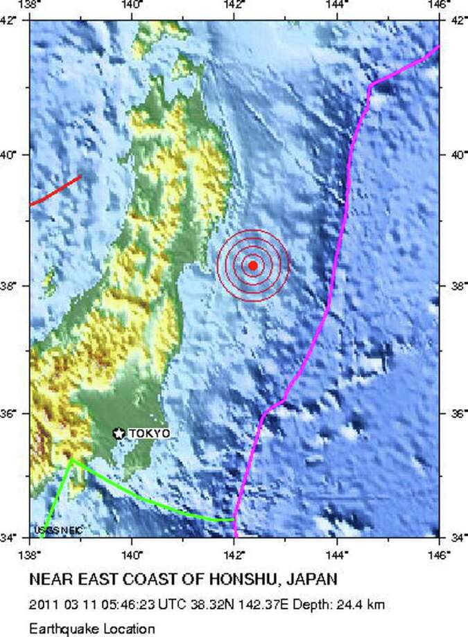 "This image obtained on March 11, 2011 courtsey of the US Geological Survey (USGS) illustrates the massive 8.8 magnitude earthquake that struck off Japan on Friday, March 11, 2011.  Numerous injuries were reported by police in Japan's Miyagi prefecture, Kyodo news reported, after the earthquake triggered a four-metre tsunami that struck the nation's Pacific coast.      AFP PHOTO / USGS     == RESTRICTED TO EDITORIAL USE - MANDATORY CREDIT "" AFP PHOTO / USGS"" - NO MARKETING NO ADVERTISING CAMPAIGNS - DISTRIBUTED AS A SERVICE TO CLIENTS == (Photo credit should read -/AFP/Getty Images) Photo: -"