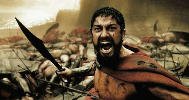 "300 - A wounded Leonidas, played by Gerard Butler roars his defiance at the Persian invaders in Warner Bros. Pictures' action drama, ""300"". PHOTOGRAPHS TO BE USED SOLELY FOR ADVERTISING, PROMOTION, PUBLICITY OR REVIEWS OF THIS SPECIFIC MOTION PICTURE AND TO REMAIN THE PROPERTY OF THE STUDIO. NOT FOR SALE OR REDISTRIBUTION. / handout email"