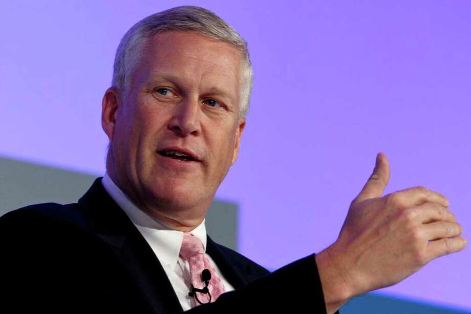 """Louis Chenevert, chairman and chief executive officer of United Technologies Corp., speaks during the Wall Street Journal ECO:nomics """"Creating Environmental Capital"""" conference in Santa Barbara, California, U.S., on Wednesday, March 2, 2011. The company's Pratt & Whitney unit was chosen by International Lease Finance Corp. to supply geared turbofan engines for 60 Airbus A320neo aircraft, the largest order yet for the new, more efficient turbine.   The event aims to bring together industry leaders and experts to discuss the risks and business opportunities emerging in the energy and environmental sectors. Photographer: Jonathan Alcorn/Bloomberg *** Local Caption *** Louis Chenevert Photo: Jonathan Alcorn, Bloomberg / © 2011 Bloomberg Finance LP"""
