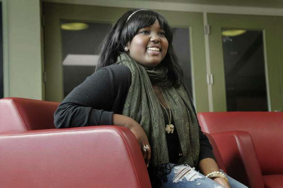 Angela Mbamba, a sophomore Fulton Montgomery Community College student from Kenya, poses for a photograph at the college in Johnstown, NY on Thursday, Mar. 3, 2011.   (Paul Buckowski / Times Union) Photo: Paul Buckowski  / 00012266A