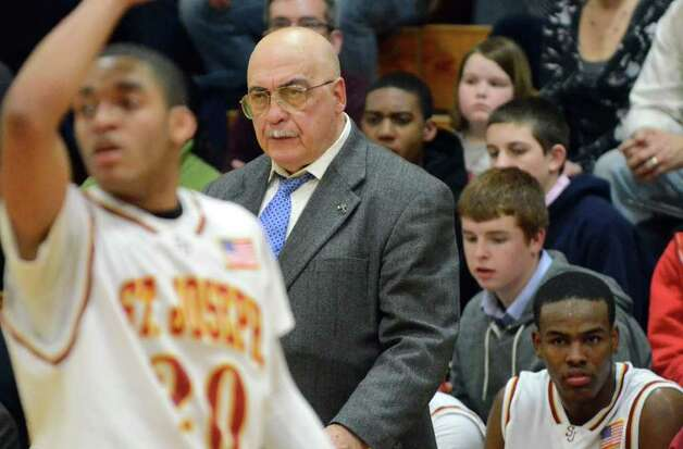 St Joseph's boys basketball coach Bito Montelli watches from the sidelines during the CIAC Division LL boys basketball quarterfinals against Brien McMahon at St. Joseph on Friday, Mar. 11, 2011. Photo: Amy Mortensen / Connecticut Post Freelance