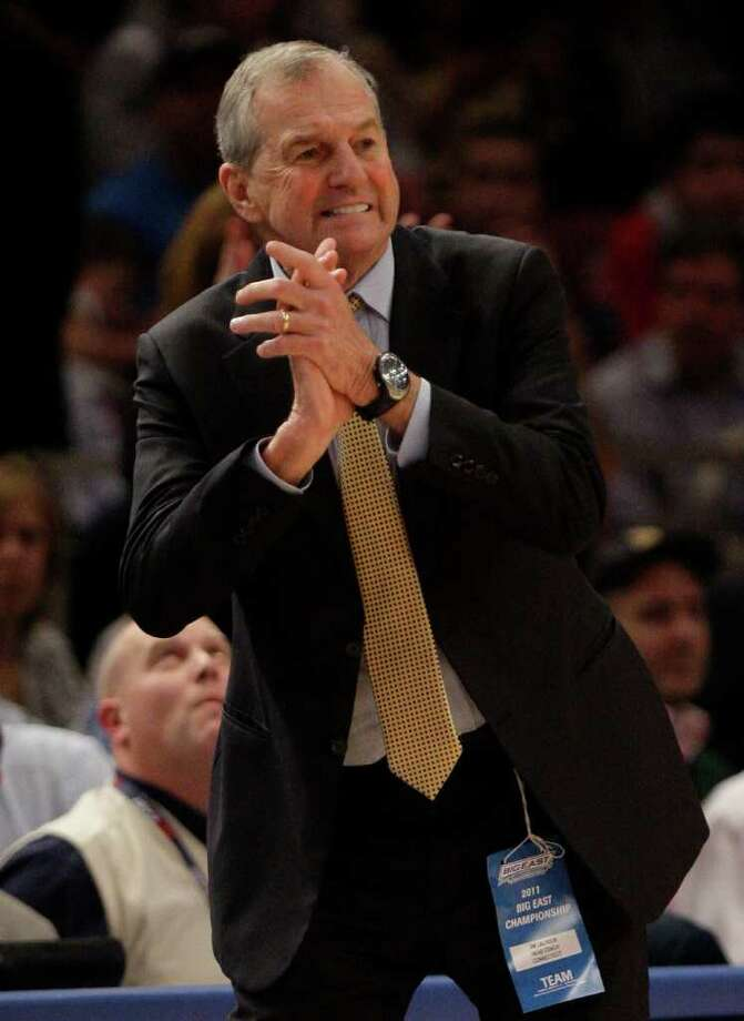 Connecticut head coach Jim Calhoun reacts during the second half of an NCAA college basketball game against Syracuse at the Big East Championship Friday, March 11, 2011, in New York. Connecticut won the game 76-71. (AP Photo/Frank Franklin II) Photo: AP