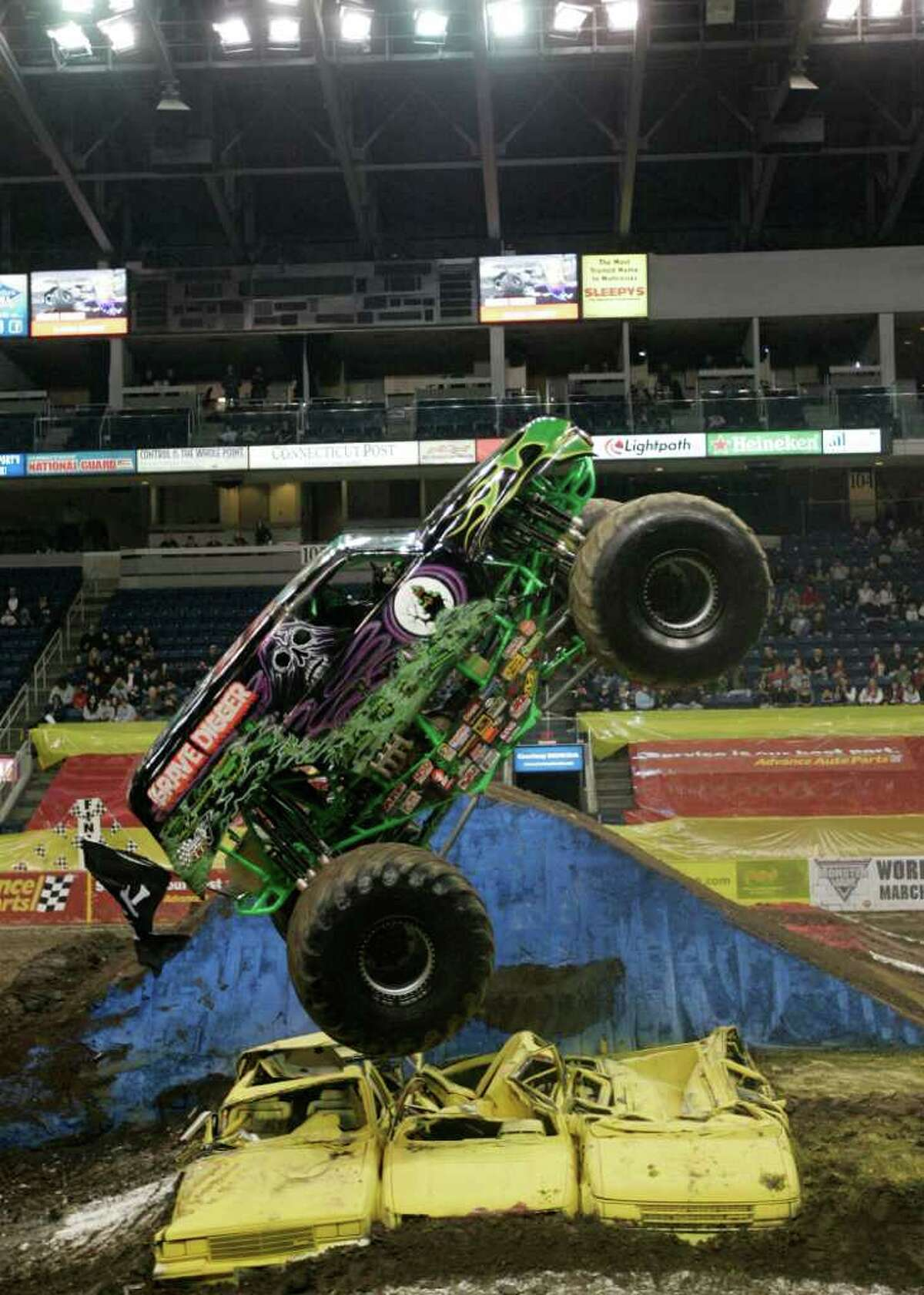 Fans at Monster Jam at the Webster Bank Arena in Bridgeport cheered on drivers of the premier monster truck series on March 11, 2011.