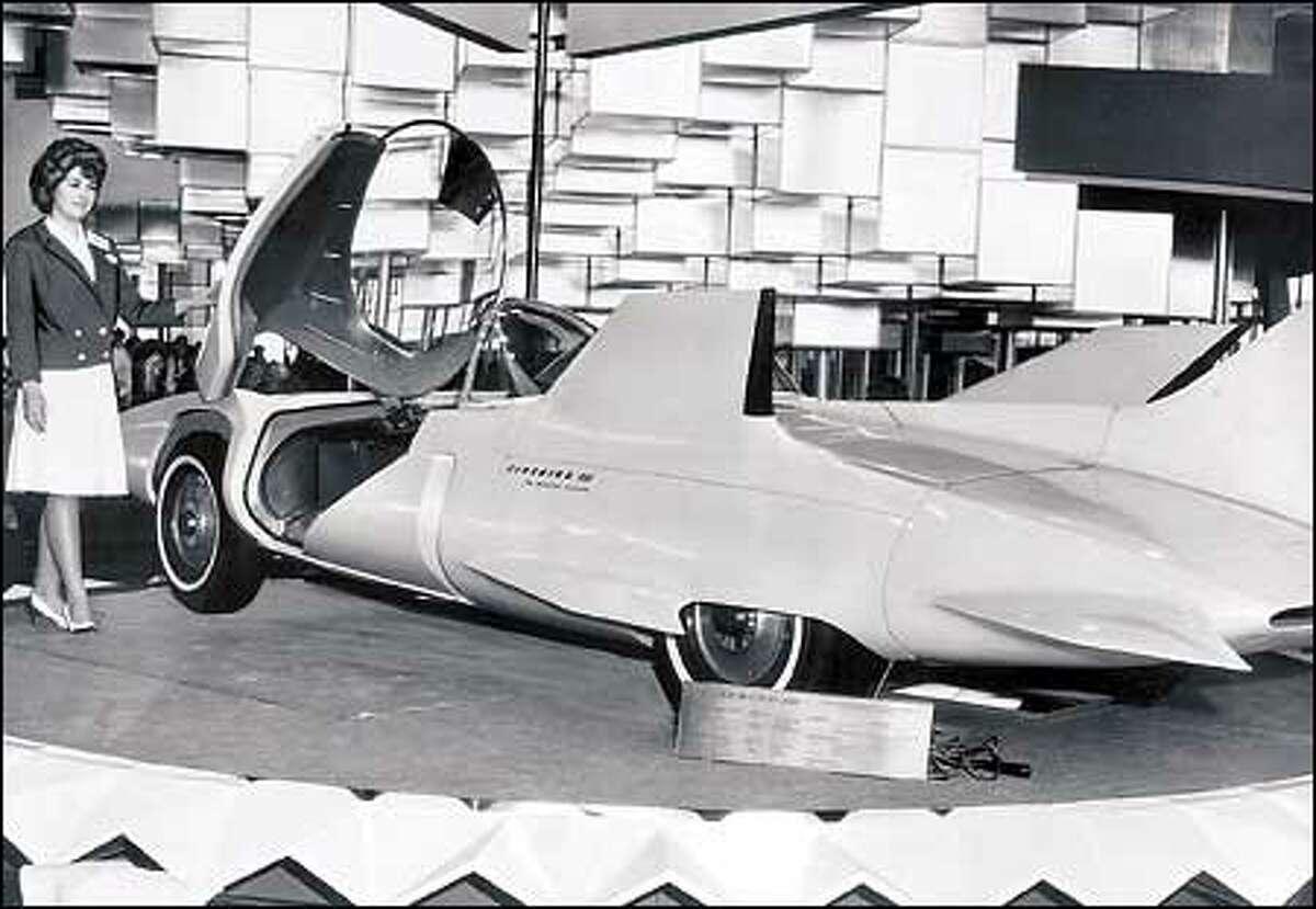 A futuristic car at the 1962 World's Fair in Seattle.