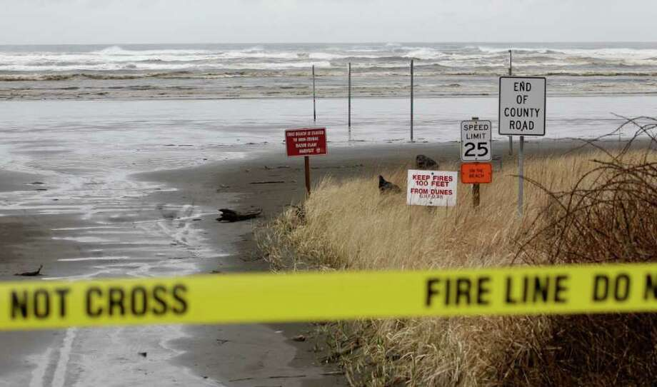 Waves common for a stormy springtime day crash into the beach Friday, March 11, 2011 in Moclips, Wash.  A Tsunami caused by Thursday's earthquake in Japan reached the west coast of the United States early Friday, though its impact was minimal. (AP Photo/Ted S. Warren) Photo: Ted S. Warren