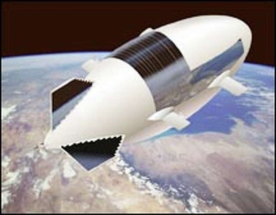 An artist's concept of a Lockheed Martin high-altitude airship. The new airships will be high-tech weapons in the war on terror.