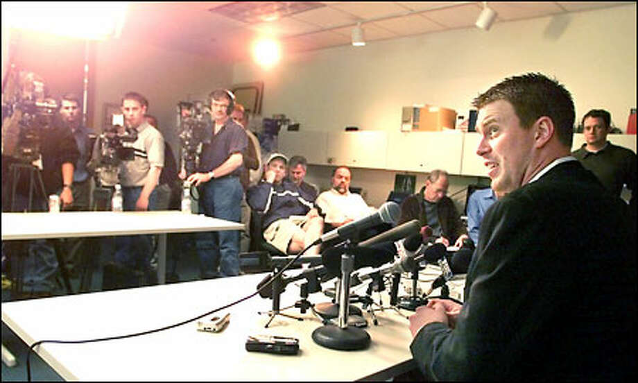 Ryan Leaf answers questions during a news conference at Seahawks headquarters, one day after signing a one-year contract with the team. Photo: / Associated Press