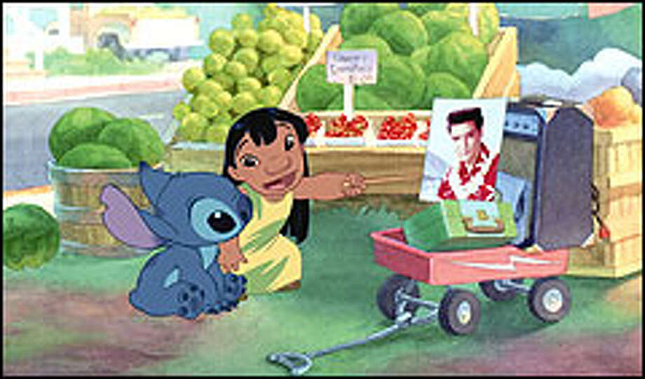 Lilo tries to teach Stitch how to be a model citizen like her hero, Elvis Presley. Photo: DISNEY ENTERPRISES, INC.