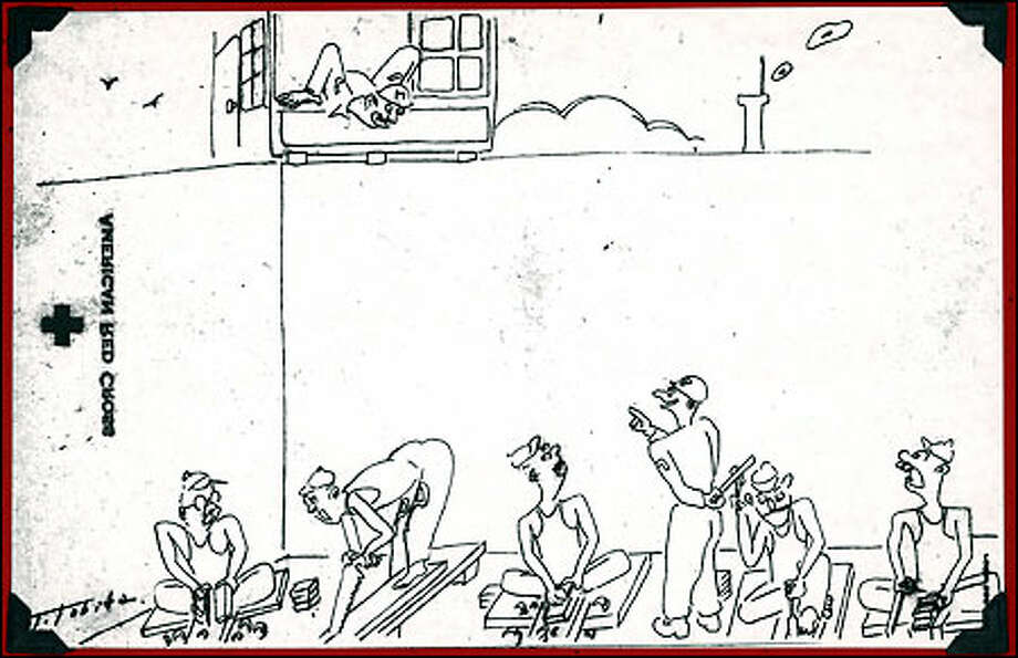 A sketch drawn by Japanese artist Tokio Tobita depicts daily life for prisoners in Sugamo Prison near Tokyo, which held accused Japanese war criminals after World War II. Tobita was sentenced to 30 years there.