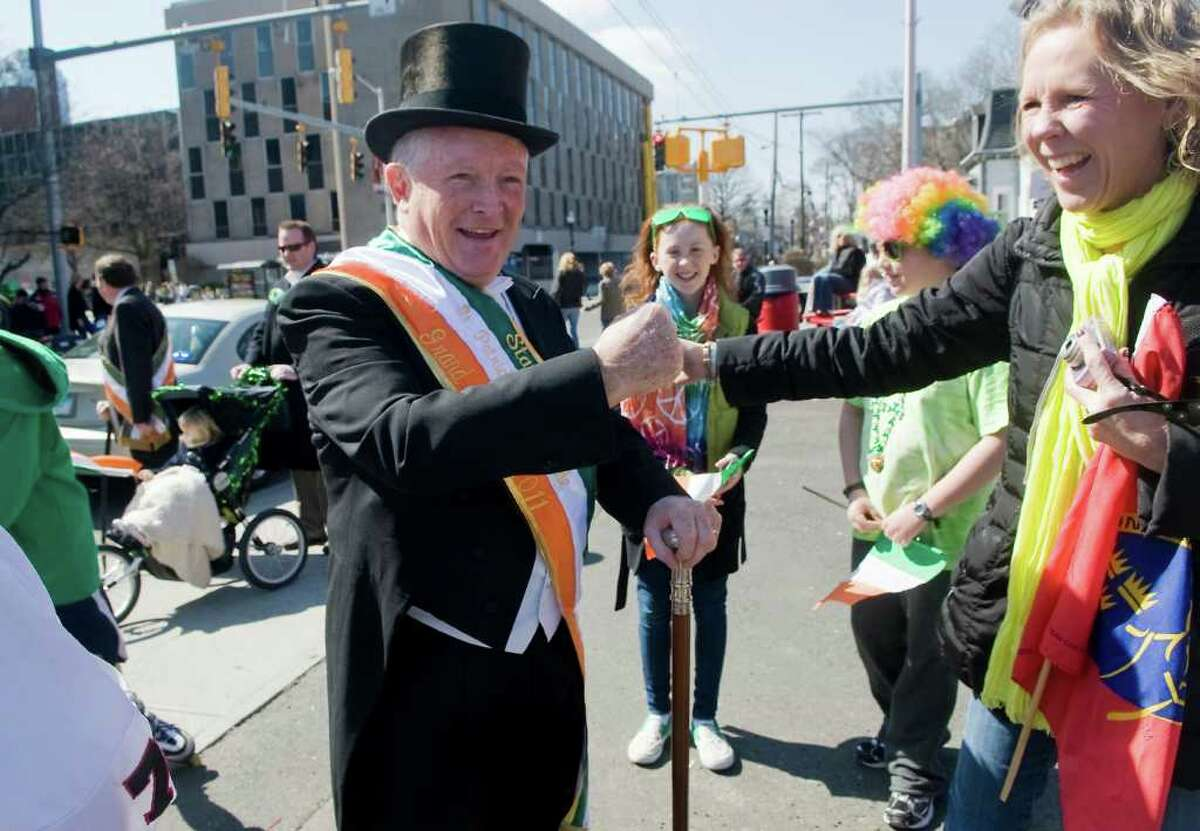 Carl Shanahan, the Grand Marshal of the Stamford St. Patrick's Day parade, prepeare to lead the march in Stamford, Conn. on Saturday March 12, 2011.