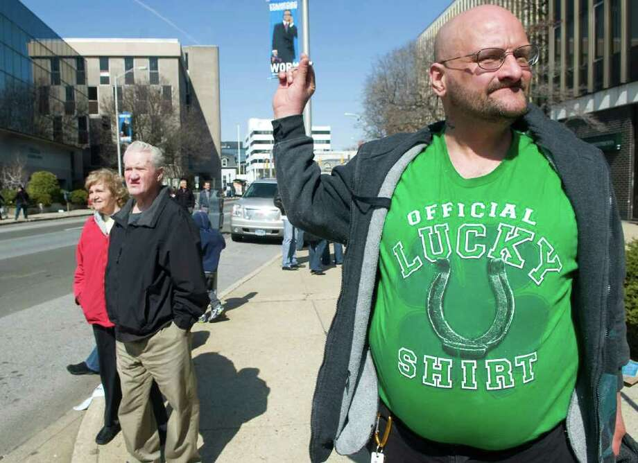 Edward Denson enjoys the Stamford St. Patrick's Day parade in his lucky shirt in Stamford, Conn. on Saturday March 12, 2011. Photo: Kathleen O'Rourke, Stamford Advocate / Stamford Advocate