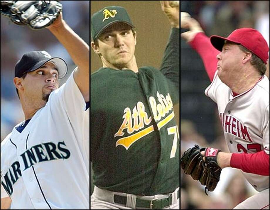 As the chase for the AL West pennant enters the home stretch, the Mariners' Joel Pineiro (left), Oakland ace Barry Zito (center) and Anaheim right-hander Kevin Appier figure to play key roles as top-notch starters. Photo: / Associated Press