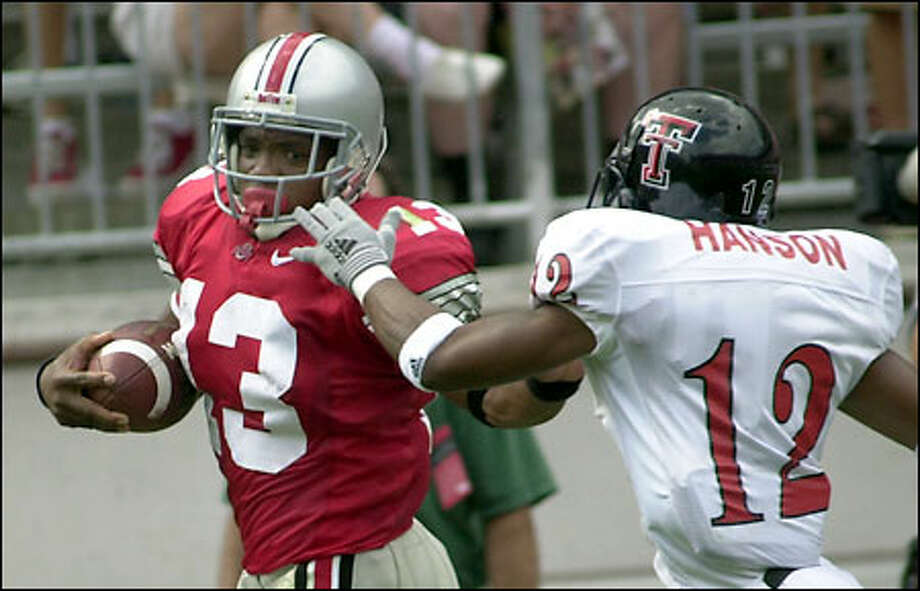 Ohio State tailback Maurice Clarett, a freshman, rushed for 175 yards and three touchdowns against Texas Tech on Aug. 24. Photo: / Associated Press